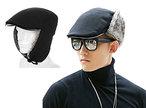 Siggi Mens Thick Wool Winter Baseball Visor Cap with Faux Fur Earflap Warmer 66a01b68b646