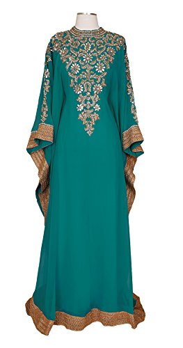 Royal Bliss Kaftan For Women - Long Sleeve Maxi Dress, Formal Gown Evening Dress (Teal), Free (Blue Kaftan)