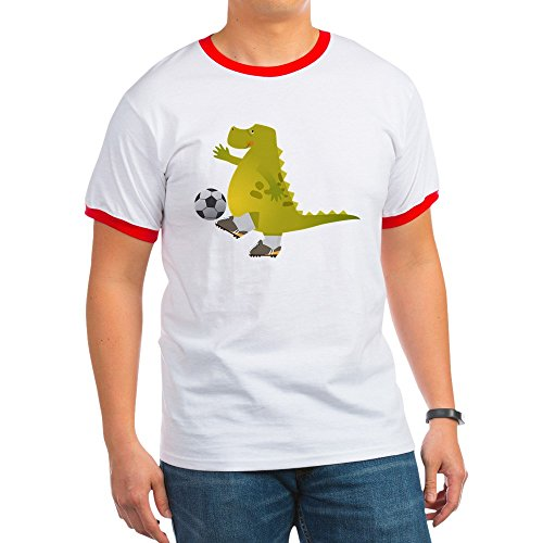 Truly Teague Ringer T-Shirt Dinosaur Playing Soccer - Red/White, Small