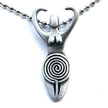 Luna Artemis Moon Selene Diana Juno Goddess Labyrinth Maze Pagan Pewter Pendant