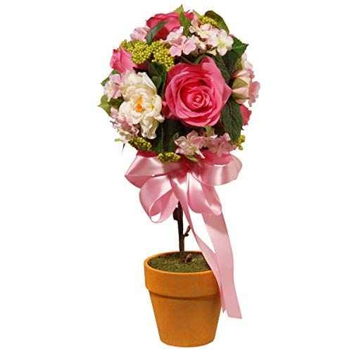 (National Tree Rose and Hydrangea Topiary, 14 Inch, Multi)
