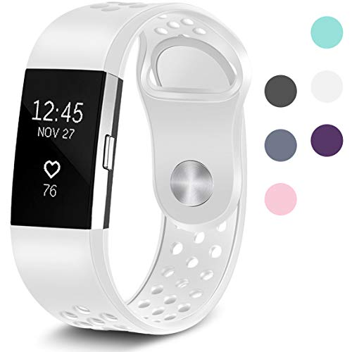 Maledan Replacement Sport Bands with Air Holes Compatible for Fitbit Charge 2, White, Large