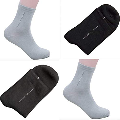 Bamboo Thin Dress Socks Men Pack of 6 - Moisture Wicking Sweat Proof Odor Free Ultra Soft Material | Business Casual Crew Socks Mid Calf | 6 Pairs Assorted Colors (2 Black, 2 Dark Gray, 2 Light Gray)