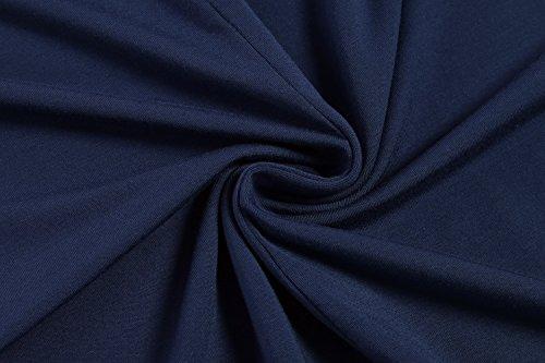 HOTOUCH Mujer Vestido Casual Largo de 3/4 Manga de Cuello Redondo A Linea Suelto Midi Vestido azul marino