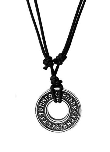 - exoticdream Elder Futhark Rune Runic Magic Charm Talisman Amulet Viking Norse Pewter Pendant + Adjustable Cord (Circular)
