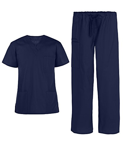 Strictly Scrubs Unisex Medical Uniform Scrub Set (XS-3X, 14 Colors) - Includes 3 Pocket Top and Pant Navy