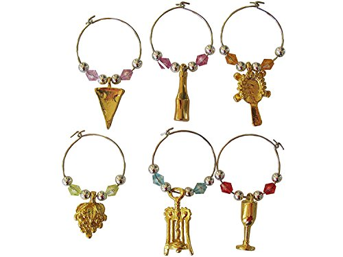 Select Golden Beaded Wine Glass (tag/marker) Charms- Set of 6