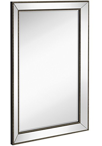 Large Framed Wall Mirror with Angled Beveled Mirror Frame and Beaded Accents | Premium Silver Backed Glass Panel | Vanity, Bedroom, or Bathroom | Mirrored Rectangle Horizontal or Vertical (24