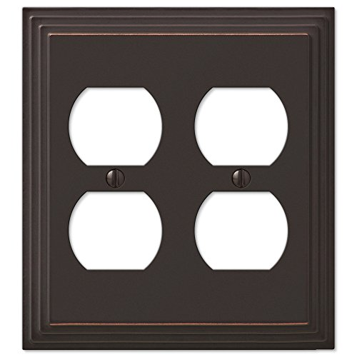 (Step Design Double Duplex Wall Switch Plate Outlet Cover - Oil Rubbed Bronze)