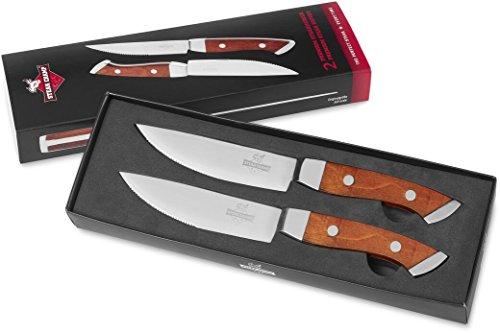 SteakChamp Premium Steak Knife Pair, Wooden Handles by SteakChamp
