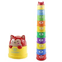 Hugine Rainbow Stacking Cup with Light & Sound Folding Cup Game Toy for Baby Bath Stackable Toys Colorful and Tactile Activity Toy Educational Toy Gift for Baby