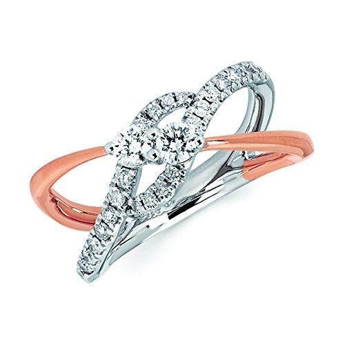 14k Two-Tone White and Rose Gold .50 Cttw. Diamond Split-Shank (Split Shank Ring)