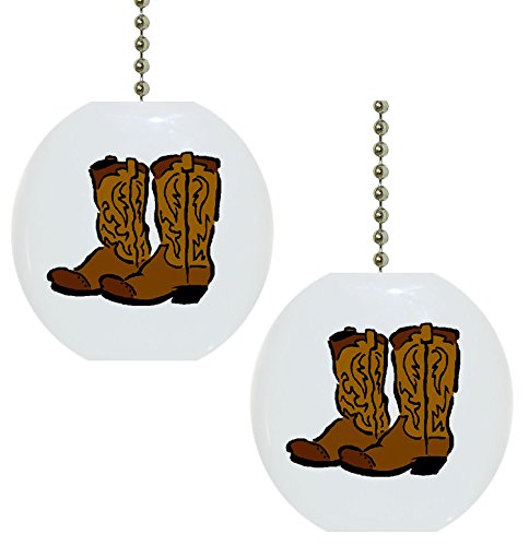 Set of 2 Cowboy Boots Farm Western Solid CERAMIC Fan Pulls