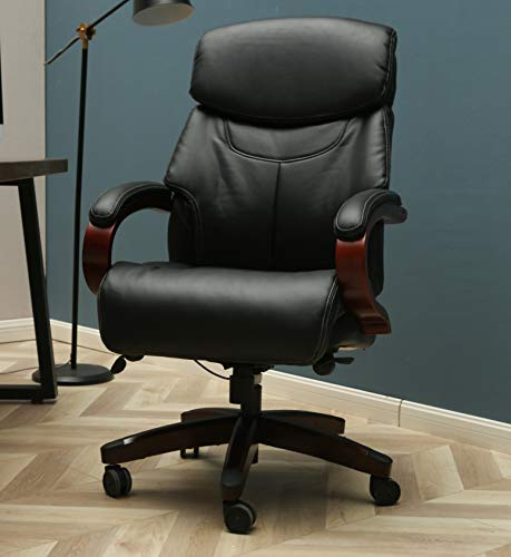 Leather PU Executive Office Chair with Wood Arms and Base in Black Boss Swivel Chair High Back Office Chair - Ergonomic Computer Desk (Black)