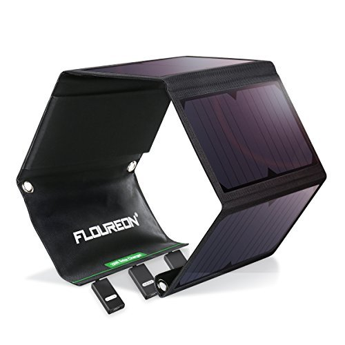 FLOUREON Solar Charger 28W Waterproof Solar Panel with 3 USB Ports, 5V SunPower Solar Panel Outdoor Solar Battery Charger for Camping Travel