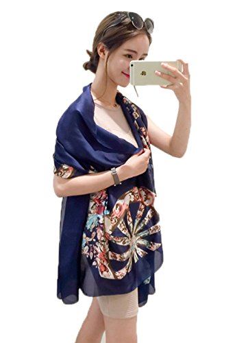 (JD SUITCASE Womens Charmeuse Silk Scarf Flower Long Shawl Scarf-Beige)