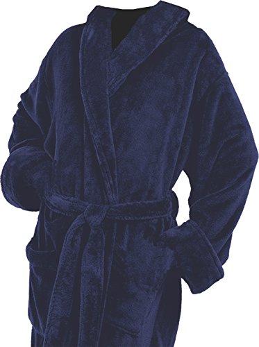 (Tri Color Robes Customizable Women's Microfiber Plush Luxury Robe Navy Blue)