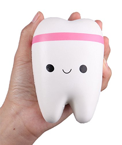 stem building toys Anboor 4.4 Squishies Jumbo Slow Rising Kawaii Teeth Scented Tooth Toy for Play 1 Pcs Color Random