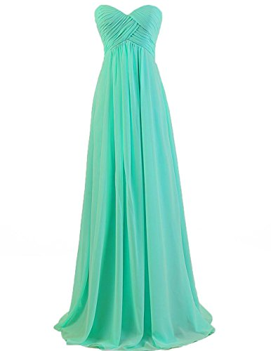 Cdress Sweetheart Bridesmaid Chiffon Prom Dresses Long Evening Gown Plus Size Turquoise US 16W Bill Levkoff Junior Bridesmaid Dresses