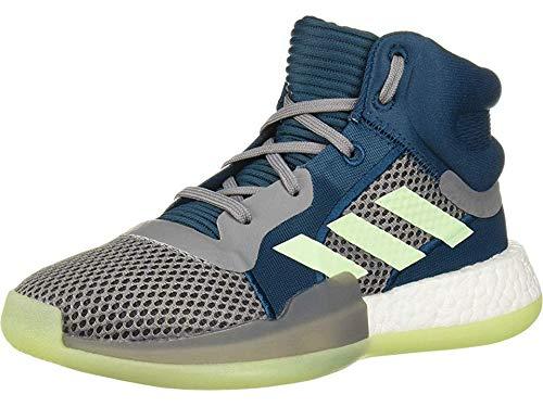 adidas Unisex Marquee Boost Basketball Shoe, Tech Mineral/Glow Green/Grey, 3.5 M US Big Kid