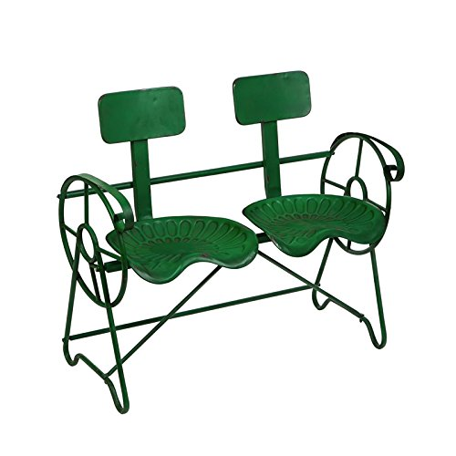 - ME Green Metal Farm Tractor Seat Outdoor Bench
