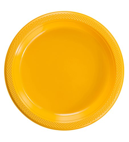 Exquisite 7 Inch. Yellow Plastic Dessert/Salad Plates - Solid Color Disposable Plates - 50 Count (7 Dessert)