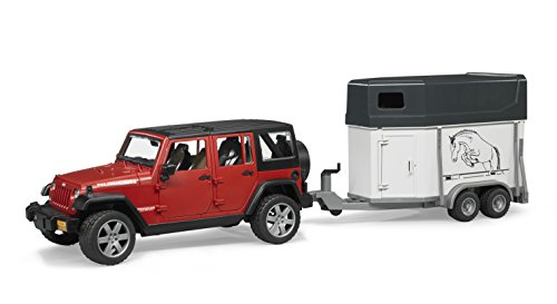 Bruder Jeep Wrangler Unlimited Rubicon with Horse Trailer and Horse (Bruder Horse Trailer compare prices)
