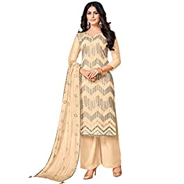 Rajnandini Women's Pure Jam Cotton Sequence Embroidered Semi-Stitched Salwar Suit Material With Embroidered Dupatta