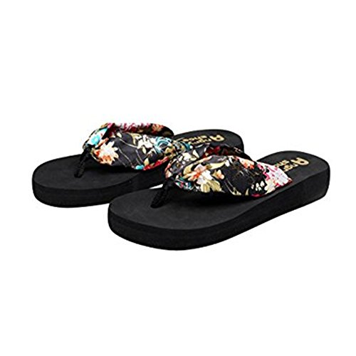 Small Flip Order Wedge Women's Black Floral Desen Summer Size Satin Flops Runs up wXz8qqgWZ