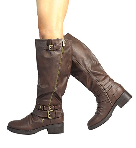 DREAM PAIRS Womens Knee High and Up Riding Boots (Wide Calf Available) Brown jjGwn