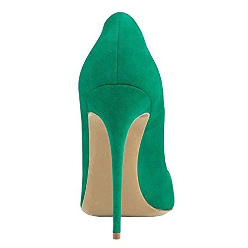 Damen Spitze Zehen Pumps Fellsamt High-Heels Stiletto Cap Toe mit Nieten Samt Grün