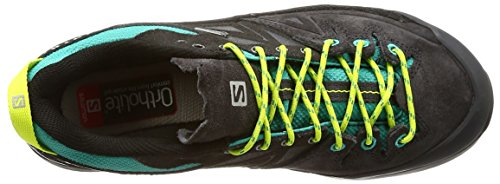 Salomon X Alp LTR GTX W, Bottines Femme, Noir, 49.3 EU Multicolore - bleu canard/vert lime (Deep Peacock Blue/Phantom/Lime Punch)