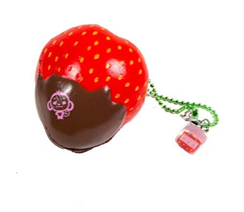 Mini Cheeki Strawberry Classic Red Strawberry Dipped in Chocolate Squishy