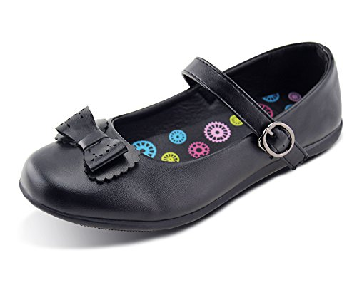 Girls School Uniform Shoes Bowknot Mary Jane Flat Balck (3 M US Little Kid, Black-2) by Jabasic