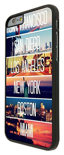 189 - US Cities New York Miami Los Angeles Design iphone 6 6S 4.7'' Hülle Fashion Trend Case Back Cover Metall und Kunststoff - Schwarz