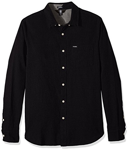 Volcom Men's Micro Dot Long Sleeve Shirt, Black, XXL -