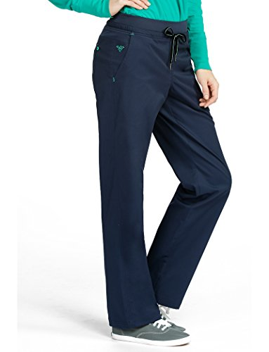 Med Couture Signature Yoga Drawstring Scrub Pant for Women, New Navy/Spearmint, X-Large Petite