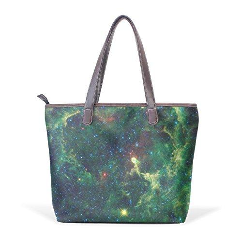 COOSUN Bolso asa grande bolsa de asas para mujer Galaxy Pu cuero verde L (33x45x13) cm muticolour