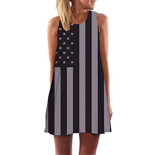 (Independence Day Dress for Women Vintage Dresses Summer Sleeveless Beach Printed Short Mini Dress T Shirt Gray)