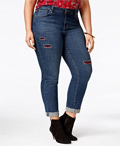 Style & Co. Womens Plus Denim Patchwork Boyfriend Jeans Blue 22W