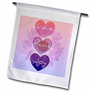 Patricia Sanders Inspirations - Love, Peace, Joy Hearts Pink Flower- Inspirational Art - 18 x 27 inch Garden Flag (fl_40162_2)
