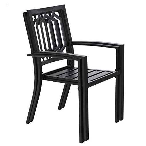 Garden and Outdoor PHI VILLA Outdoor Patio Dining Set 7 Piece with Rectangular Table and 6 Bistro Chairs – Black patio dining sets