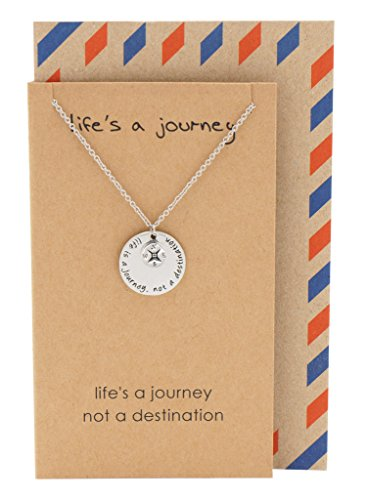 (Quan Jewelry Compass Necklace, Graduation Gifts for Women, Memorable Gifts for Her, Adventure Travelers Charm with Inspirational Greeting Card)