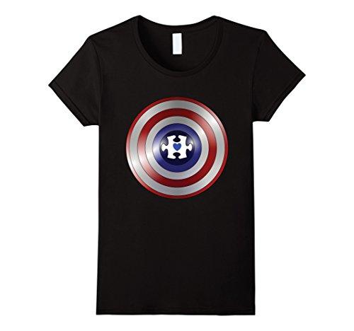 Captain Black Heart (Womens Captain Autism Superhero Shirt Puzzle Piece Heart Large Black)