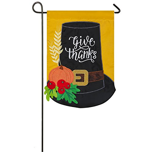 Evergreen Pilgrim Hat Outdoor Safe Double-Sided Applique Garden Flag, 12.5 x 18 inches