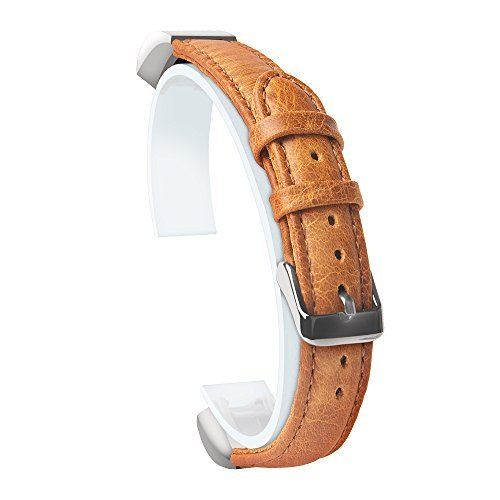 Fitbit Alta and Alta HR Band,MeanLove Genuine Leather Strap With Buckle Replacement Wristband,Leather Band for Fitbit Alta HR and Alta (Light Brown, General)