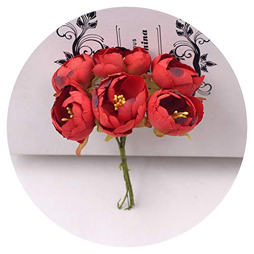 60Pcs 3cm Tea Rose Bud Artificial Flowers for Wedding Home Decoration Jewelry Accessories Fleurs Scrapbooking Craft Supplies,Red
