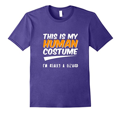 Purple Lizard Costume (Mens This is my Human Costume I'm Really a Lizard T-Shirt Tee Large Purple)