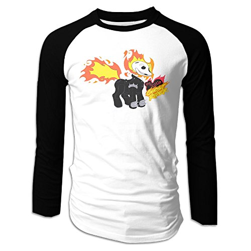 MEGGE Ghost Rider Men Shoulder Long Sleeve T Black L