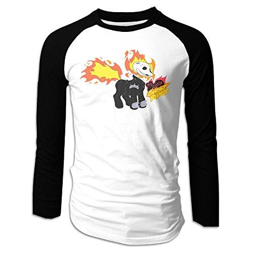 MEGGE Ghost Rider Men Shoulder Long Sleeve T Black L